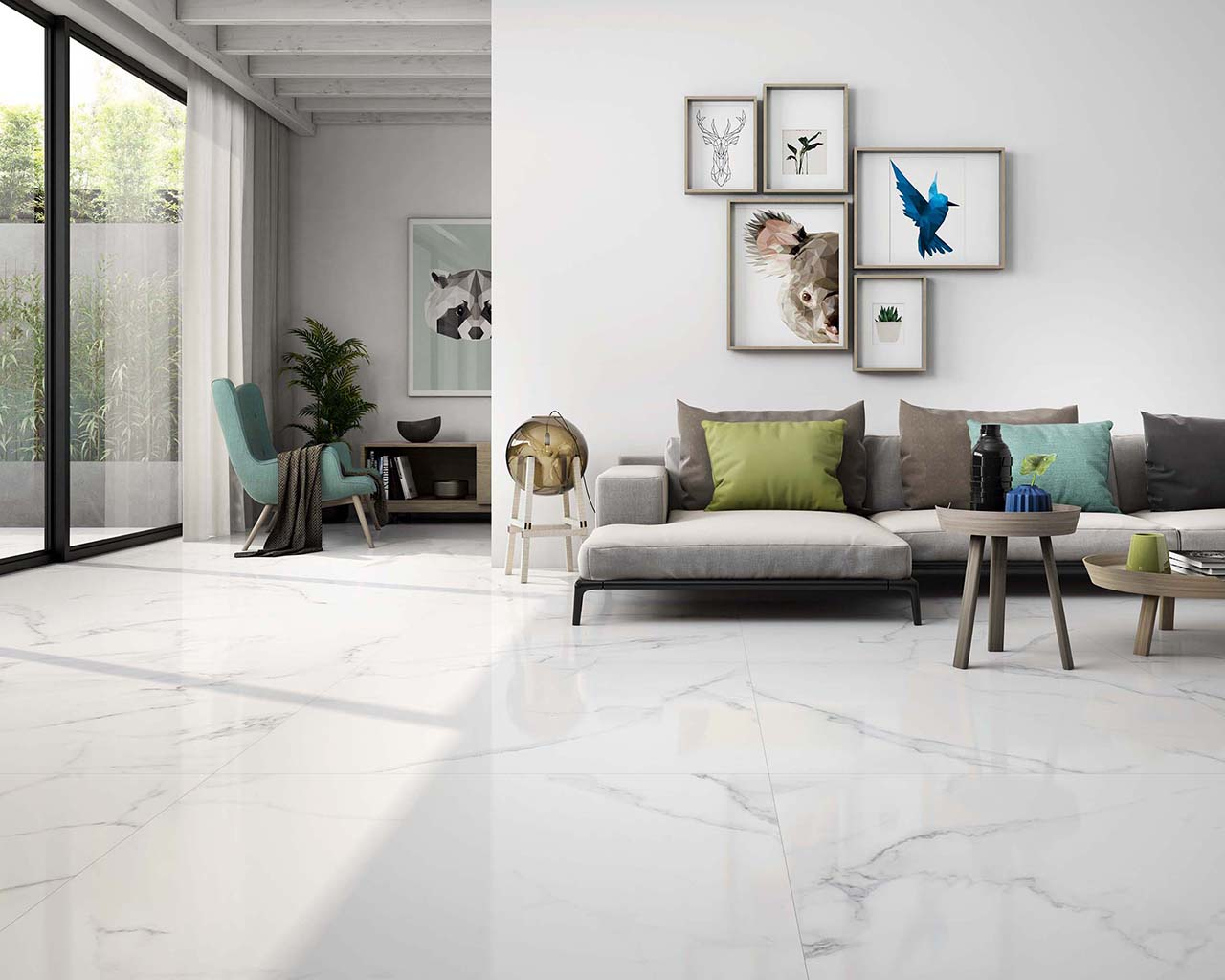 A living room floor with our Calacatta Pulido 24 x 24 porcelain tile.