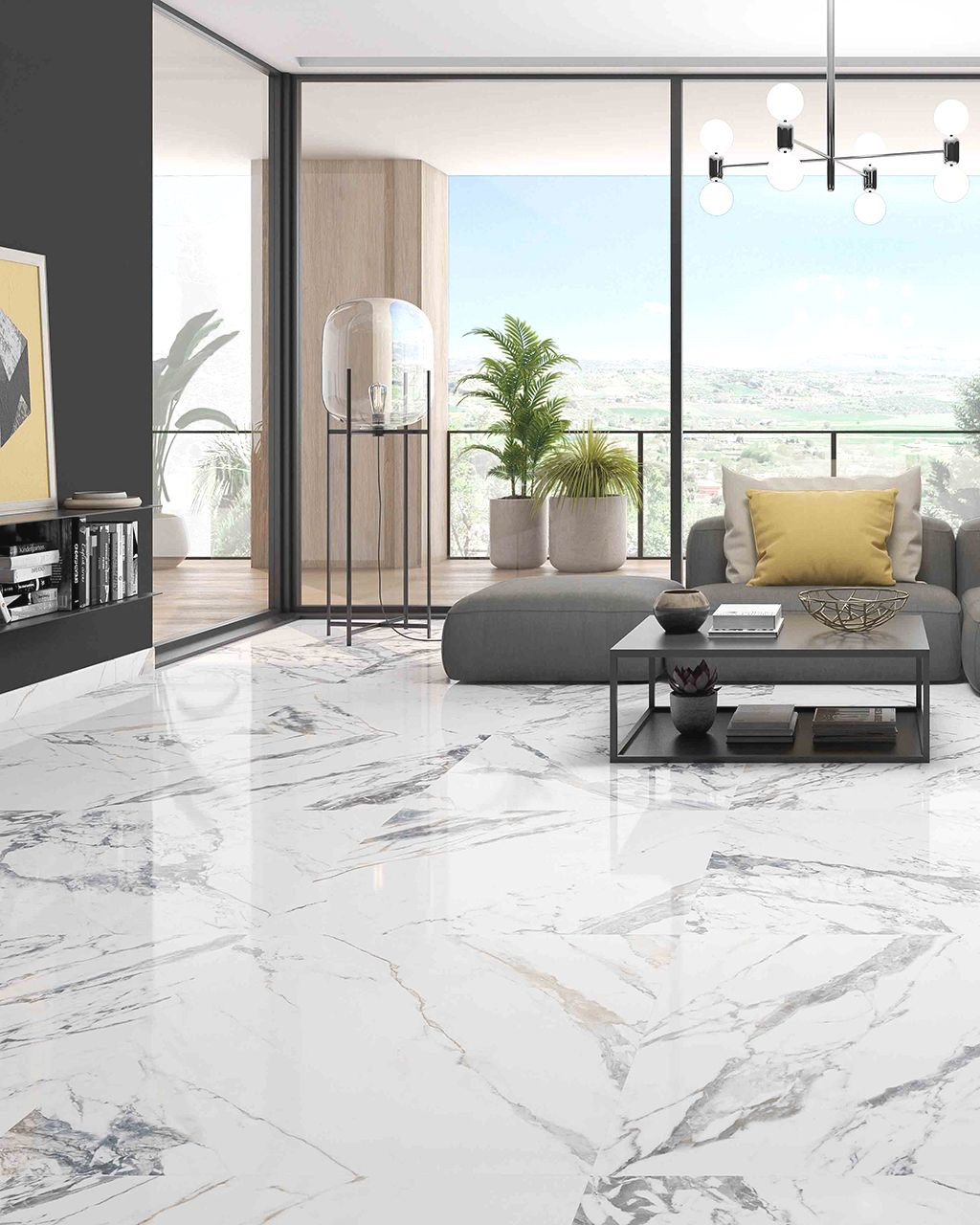 A living room floor with our Tinenza Pulido 12 x 24 Rectified Porcelain Tile