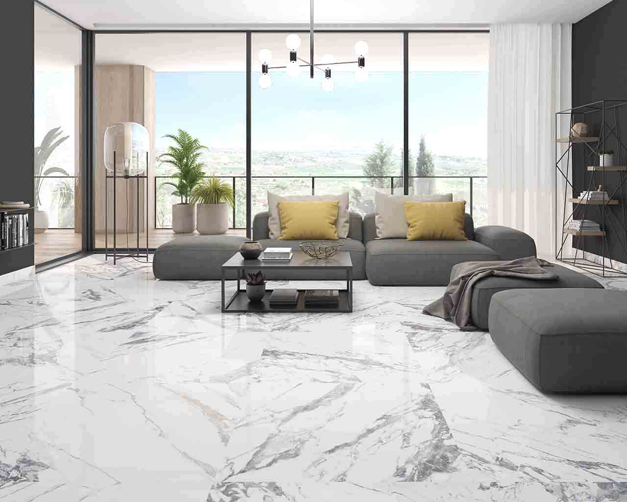 A living room floor with our Tinenza Pulido 24 x 24 Rectified Porcelain Tile